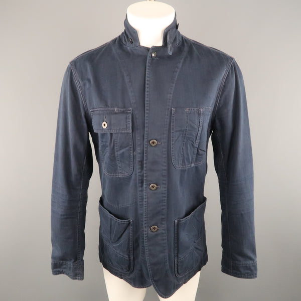 RALPH LAUREN M Navy Solid Cotton Worker Jacket