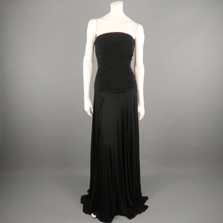 RALPH LAUREN Size 10 Black Viscose Ruched Bustier Strapless Gown