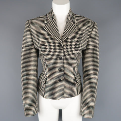 RALPH LAUREN Size 10 Cream & Black Houndstooth Wool / Cashmere Cropped Jacket - Sui Generis Designer Consignment
