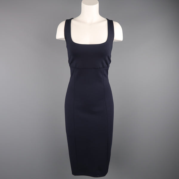 RALPH LAUREN Size 10 Navy Wool Blend Jersey Sleeveless Sheath Dress