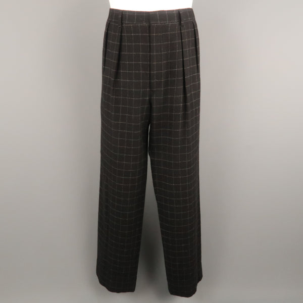 RALPH LAUREN Size 34 Black & Grey Window Pane Cashmere 31 Pleated Dress Pants