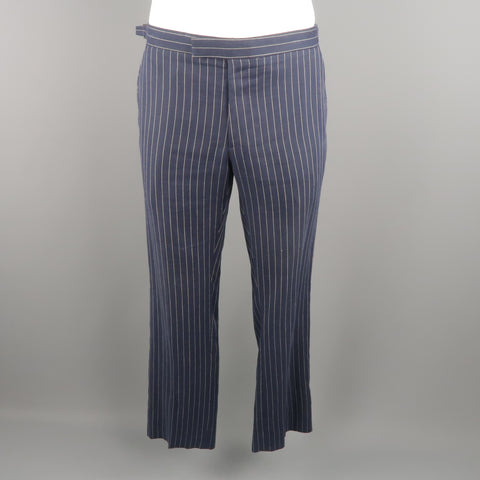 RALPH LAUREN Size 34 Navy Stripe Linen Dress Pants