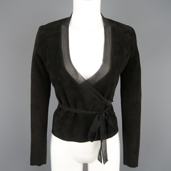 RALPH LAUREN Size 4 Black Suede Silk Trimmed V Neck Wrap Top