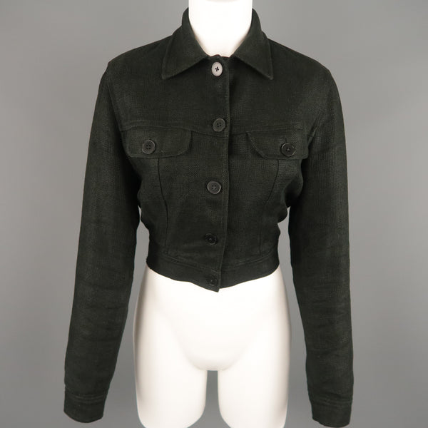 RALPH LAUREN Size 4 Black Woven Linen Cropped Trucker Jacket