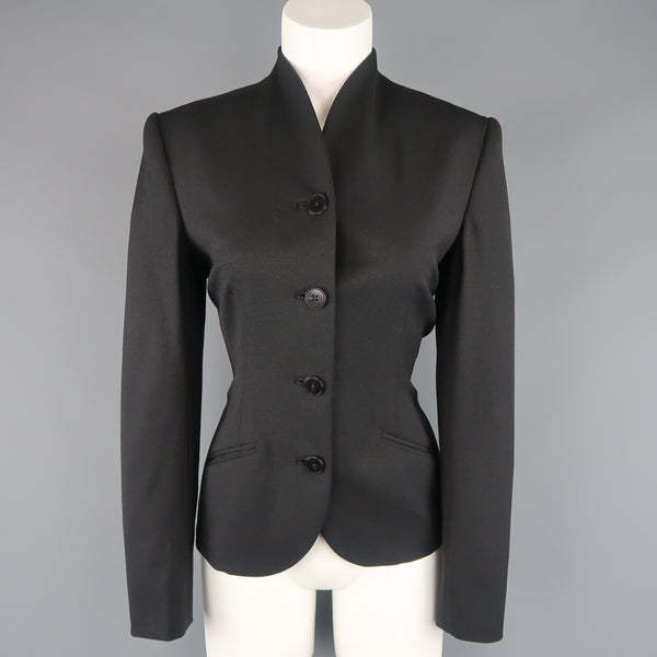 RALPH LAUREN Size 6 Black Wool Stand Up Collar Jacket
