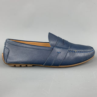 RALPH LAUREN Size 7.5 Navy Solid Leather Drivers Loafers