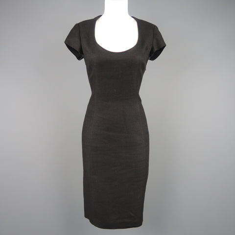 RALPH LAUREN Size 8 Black Woven Linen Scoop Neck Dress - Sui Generis Designer Consignment