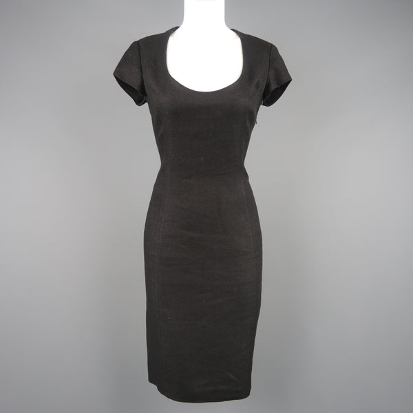 RALPH LAUREN Size 8 Black Woven Linen Scoop Neck Dress