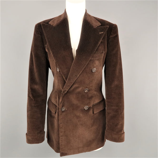 RALPH LAUREN Size 8 Brown Corduroy Double Breasted Peak Lapel Jacket
