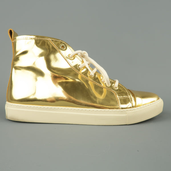 RALPH LAUREN Size 8 Metallic Gold Leather Silvana High Top Sneakers