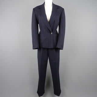 RALPH LAUREN Size 8 Navy Chalkstripe Wool Pleated Peak Lapel Jacket Pants Suit