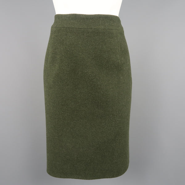 RALPH LAUREN Size 8 Olive Wool / Cashmere A Line Skirt