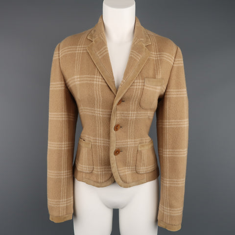 RALPH LAUREN Size 8 Plaid Camel Wool Suede Trim Jacket
