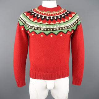 RALPH LAUREN Size M Red Knitted Wool Intarsia Pullover Sweater