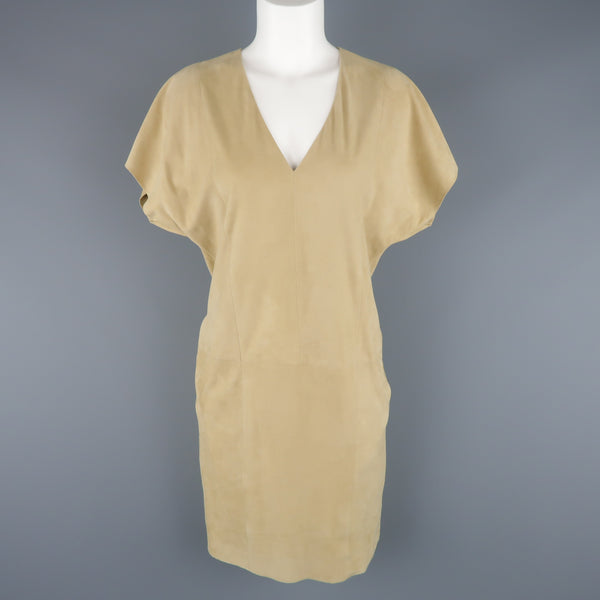 RALPH LAUREN Size S Beige Suede V Neck Shift Dress