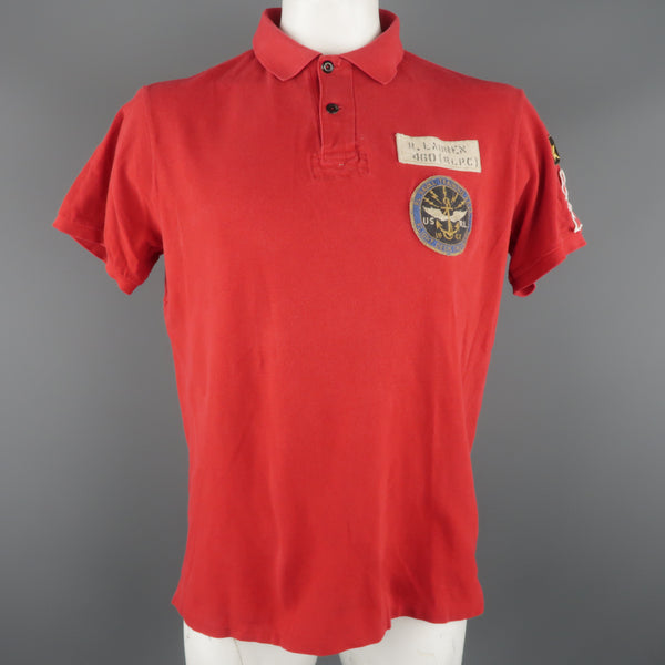 RALPH LAUREN Size XL Red Solid Cotton Buttoned POLO Shirt