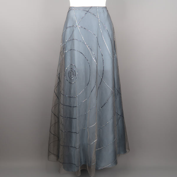 RANDOLPH DUKE Size 10 Blue Sequin Tulle Overlay Silk  Evening Skirt