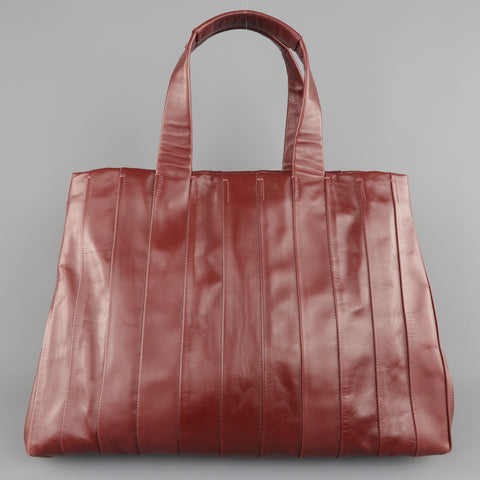 REED KRAKOFF Burgundy Pleated Leather Top Handle Tote Handbag - Sui Generis Designer Consignment