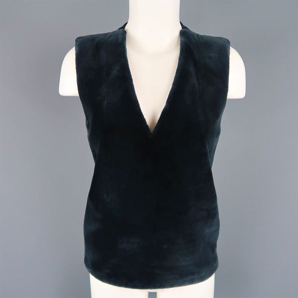 REED KRAKOFF US 4 Navy Wool Fur Panel Sleeveless Vest Dress Top