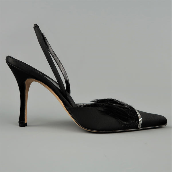RENE CAOVILLA Size 10 Black Silk Feather & Rhinestone Pointed Slingback Pumps