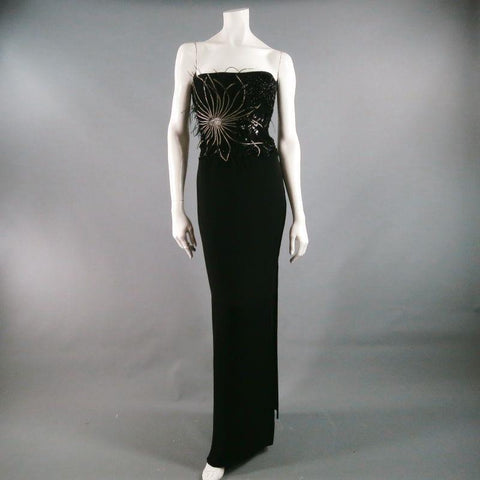 RICHARD TYLER Size 10 Black Jersey Strapless Bead Embroidered Gown/Evening Wear
