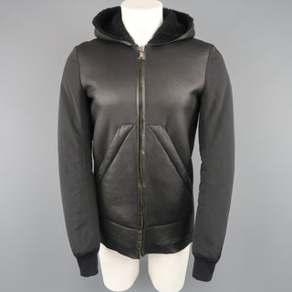 RICK OWENS 38 Black Shearling Lined Leather Nylon Down Sleeve Jacket