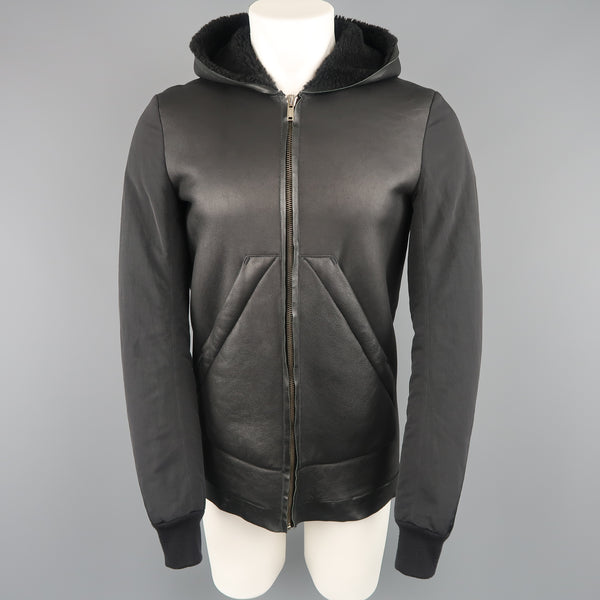 RICK OWENS 38 Black Shearling Lined Leather Nylon Down Sleeve Jacket - Sui Generis Designer Consignment