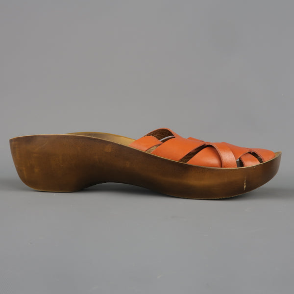 ROBERT CLERGERIE Size 10 Tan Leather Platform Clog Sandals