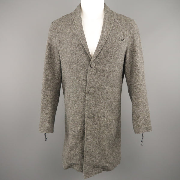ROBERT GELLER Chest Size 36 Grey Tweed Wool Blend Notch Lapel Coat