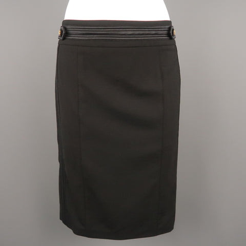 ROBERTO CAVALLI Size 6 Black Satin Trim Gold Button Tab Pencil Skirt