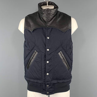 SACAI Chest Size S Navy & Black Two Toned Cotton Blend Snaps Vest