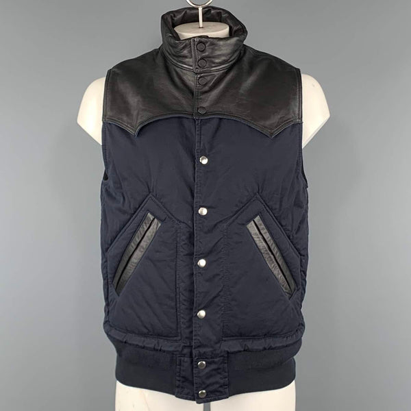 SACAI S Navy & Black Two Toned Cotton Blend Snaps Vest
