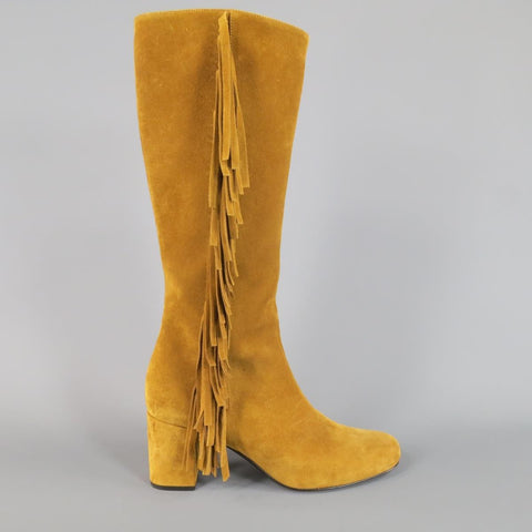 SAINT LAURENT Size 8.5 Tan Suede Fringe Knee High Boots