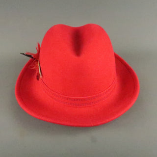 SAKS FIFTH AVENUE Red Felt Contrast Stitch Fedora