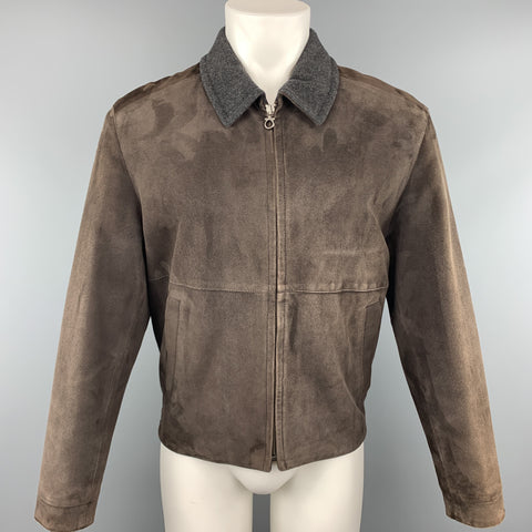 SALVATORE FERRAGAMO 38 Brown Suede Grey Collar Jacket