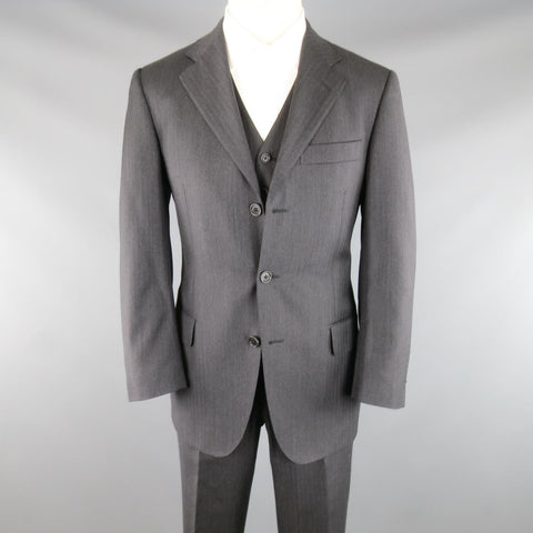 SALVATORE FERRAGAMO 38 Regular Charcoal Herringbone Wool 3 Piece Suit