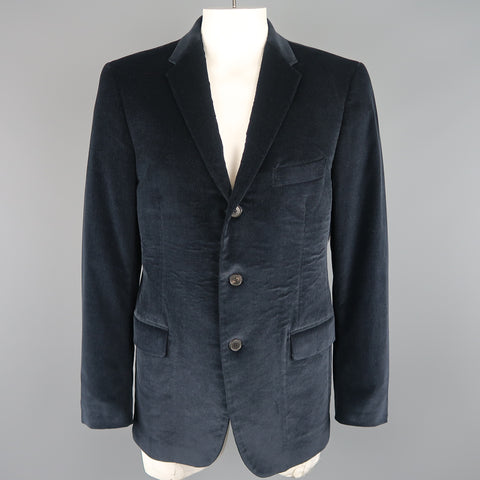 SALVATORE FERRAGAMO 46 Regular Navy Corduroy Notch Lapel Sport Coat