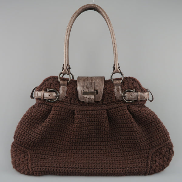 SALVATORE FERRAGAMO Brown Crochet Knit Leather Top Handles Handbag