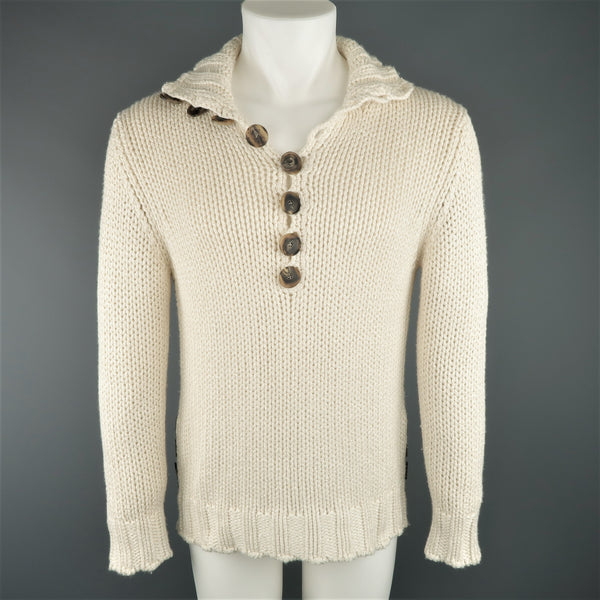 SALVATORE FERRAGAMO Size S Beige Knitted Silk / Cashmere Half Button Sweater