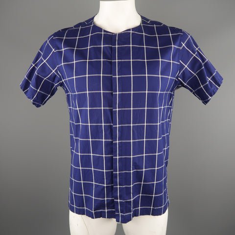 SASQUATCHfabrix Size L Navy & White Window Pane Cotton Short Sleeve Shirt