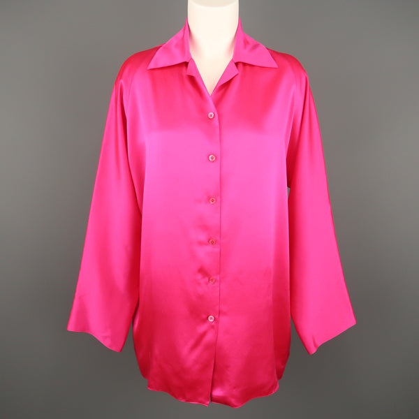 SHAMASK Size S Fuchsia Pink Silk Oversized Collared Blouse