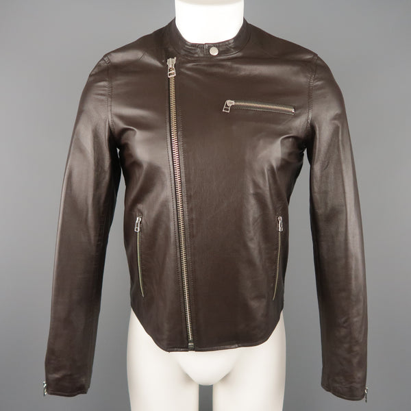 SHIPLEY and HALMOS S Brown Leather Biker Jacket