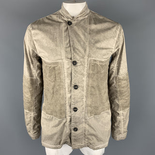 SILENT by DAMIR DOMA L Taupe Distressed Cotton Blend Buttoned Jacket