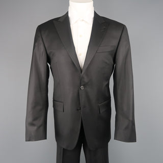 SPURR 40 Regular Black Shiny Wool Peak Lapel 32x30 Suit