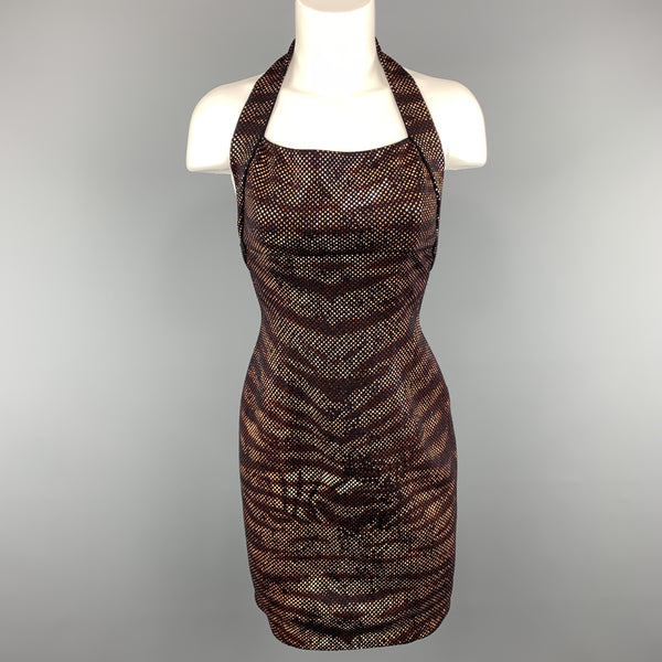 ST. JOHN Size 2 Black Knit Tiger Print Sequin Overlay Halter Dress