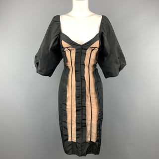 STELLA McCARTNEY Size 6 Black Taffeta Inside Out Balloon Sleeve Cocktail Dress