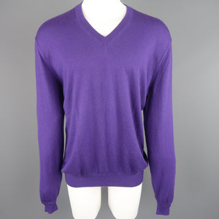 STEPHEN KEMPSON Size XXL Purple Solid Cashmere V-neck Pullover - Sui Generis Designer Consignment