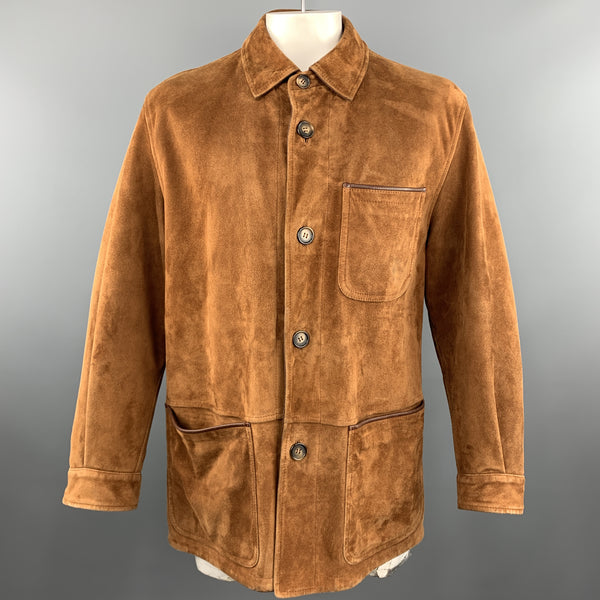 SULKA 40 Tan Suede Button Up Patch Pocket Coat