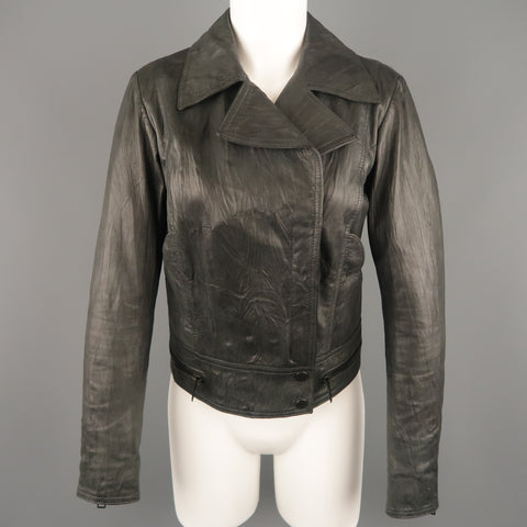 SUPERFINE Size L Grey Textured Leather Biker Jacket