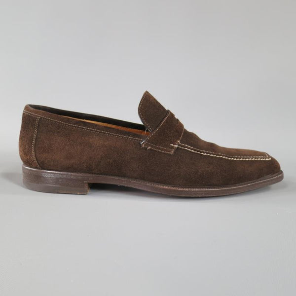 SUTOR MANTELLASSI Size 8 Brown Suede Penny Loafers